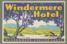 Collectible Hotel luggage label  England Windermere Lake District  #649